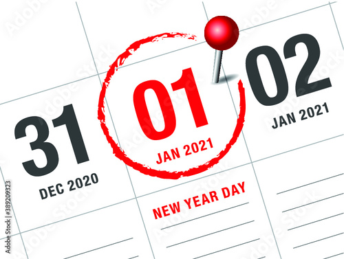Fototapeta Close up of first day of the year 2021 on diary calendar, simple and clean design vector.   obraz
