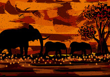 Abstract Sunset Elephant Scenery Painting Silhouette. Editable Layers Eps Artwork For Canvas Printing.