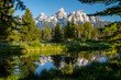 Schwabacher Landing in the early morning in Grand Teton National Park, with mountain reflections on the water creek