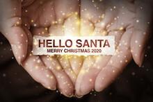 Hand Showing Hello Santa.