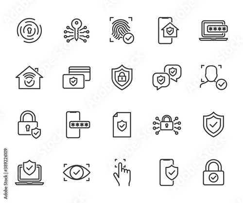 Vector set of security line icons. Contains icons digital lock, cyber security, password, smart home, computer security, electronic key, fingerprint and more. Pixel perfect.