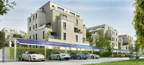 Foto Street with modern residential buildings and parking for electric cars