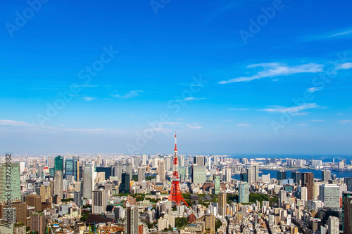 Fototapety, obrazy: Cityscape of Tokyo skyline, panorama aerial skyscrapers view of office building and downtown in Tokyo on a sunny day. Japan, Asia.