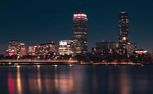 Boston MA Skyline At Night In The Winter