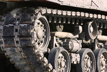 Old And Worn Army Tank Track A...