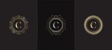 Golden Emblem Letter C Luxury Decoration Initial Logo Icon, Elegance Set Gold Ornate Emblem Deco Vector Design