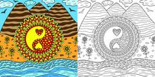 Nature Landscape Yin Yan Symbol Colouring Book Page For Adults