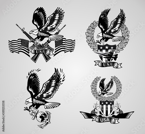 Fotografering American eagle military marine and crossing rifles атв Military combat aircraft