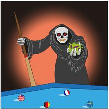 Vector EPS 10. Death Plays Billiards With The Coronavirus