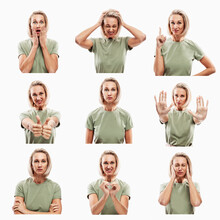 Young Blond Woman With Different Emotions. Set Of Images, Collage. White Background.