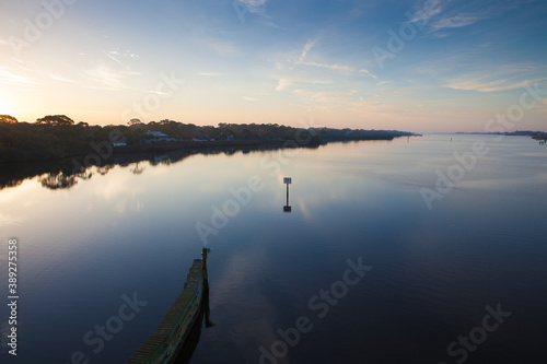 Sunrise over intercoastal waterway in spring Fotobehang