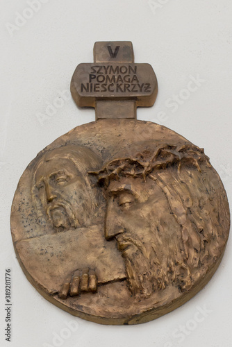 Fotomural Chełm, Poland, September 25, 2020: Stations of the Cross in the church, the sanc