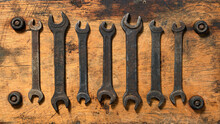 Old Vintage Hand Tool - Set Of Wrenches On A Wooden Background, Object In Retro Style