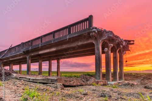 Fotografie, Obraz The End of the Whirokino Trestle Bridge The End