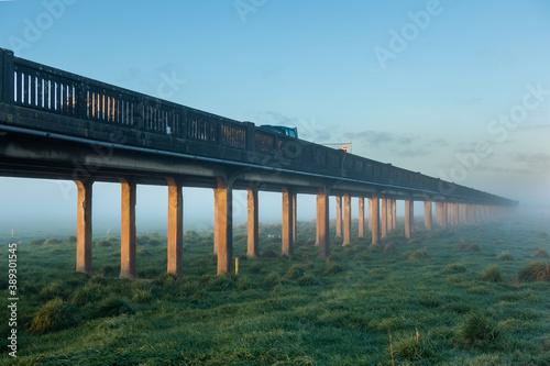 Fototapeta Whirokino Trestle Bridge Last Mist