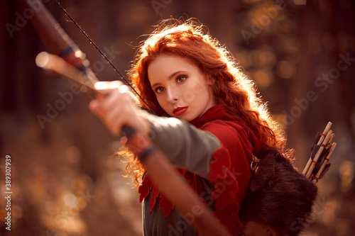 archer with red hair Fotobehang