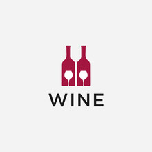 Wine With Bottle Typography Lo...