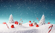 Creative Christmas landscape with winter snowfall. 3d rendering