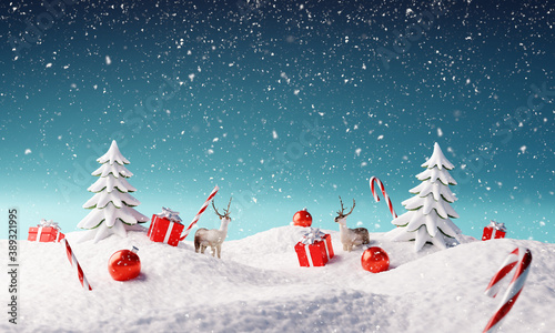 Tablou Canvas Creative Christmas landscape with winter snowfall. 3d rendering