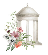 Watercolor Illustration With Architectural Element And Flowers. Rotunda, Pavilion, Column, Round Roof, Alcove In The Garden, Park With Flowers. Summer Bouquet, Garden House, Floral Arrangements.