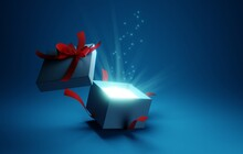 Open Gift Box With Ray Of Light Effect On Blue Background. 3d Rendering