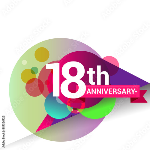 18th Anniversary logo with colorful geometric background, vector design template elements for your birthday celebration. Wall mural
