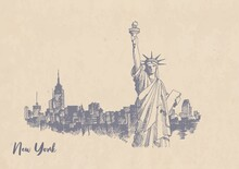Sketch Of The Statue Of Liberty On Kraft Paper