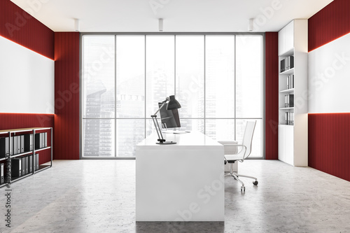 Red and white panoramic CEO office, side view Fototapet