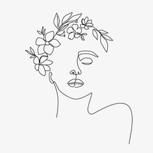 Woman Head With Flowers Composition. Hand-drawn Vector Line-art Illustration. One Line Style Drawing.