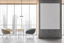 Mockup On Grey Wall In Office ...