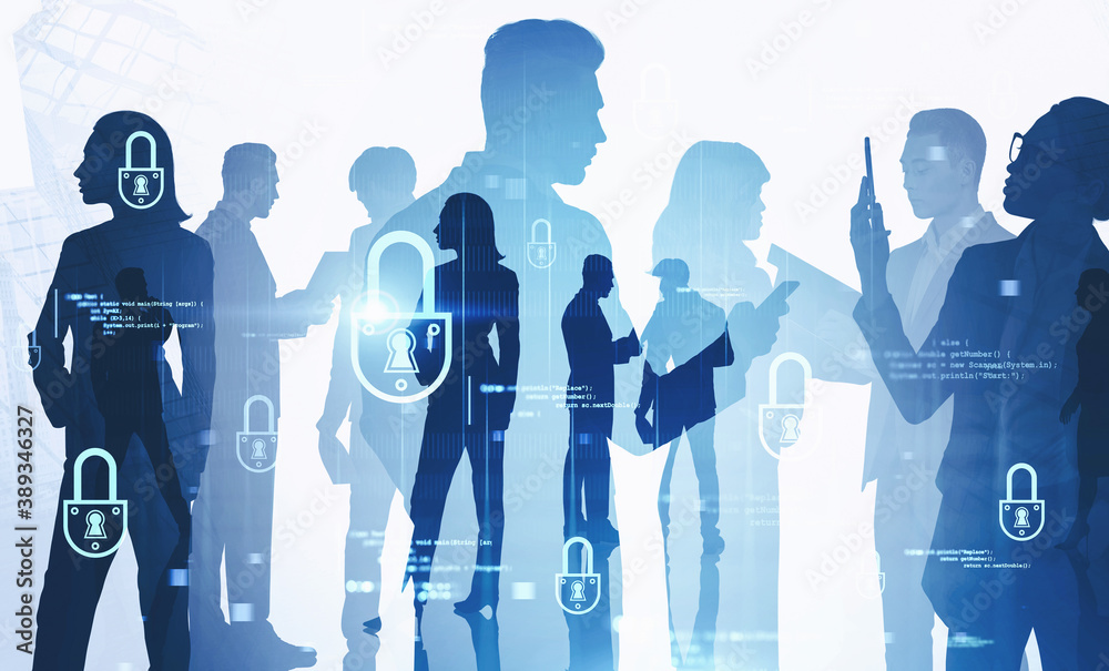 Fototapeta Business people in city and cyber security interface