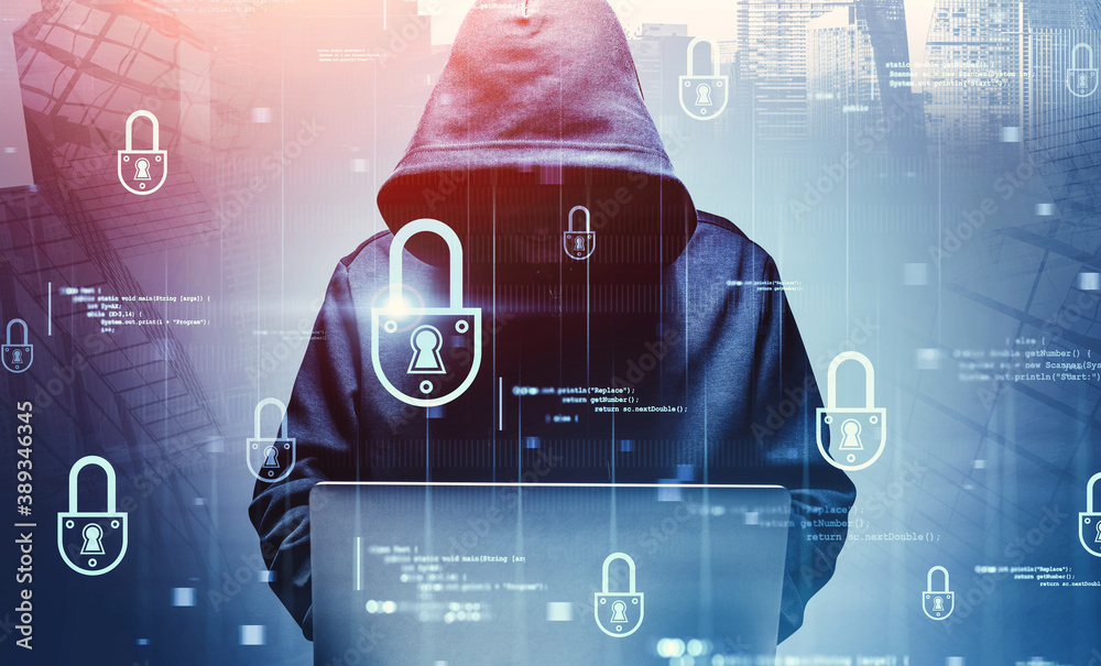 Fototapeta Hacker with laptop in city, cyber security