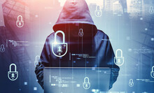 Hacker With Laptop In City, Cyber Security