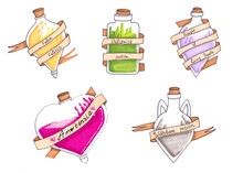 Handmade Drawing With Markers Of Potion Bottles