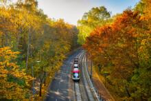 A Tram In The Autumn Scenery O...
