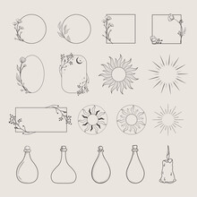Collection Of Vector Logo Design Elements, Decorative Geometric Floral Frames, Borders, Wreaths, Sunburst, Rays, Beams, Bottles, Elegant Illustrations. Trendy Line Drawing, Lineart Style