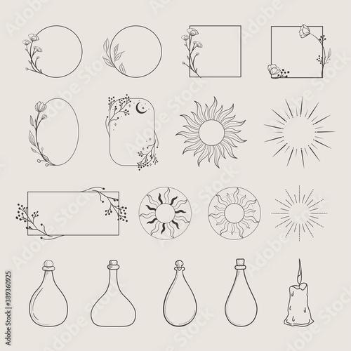 Collection of vector logo design elements, decorative geometric floral frames, borders, wreaths, sunburst, rays, beams, bottles, elegant illustrations. Trendy Line drawing, lineart style