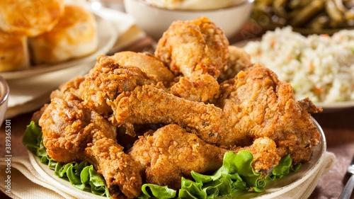 Fast food - fried chicken and delicious wings. Billede på lærred