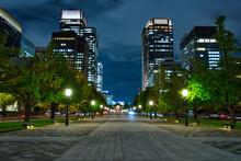東京の夜、東京駅と丸...