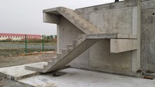 Picture Of Straight Precast Concrete Stairs With Landings Completely Installed On A Building In The Shell