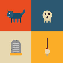 Cute Halloween Icon Set. Vector Illustration In Flat Design. Design For Webpage, Banner, Poster.
