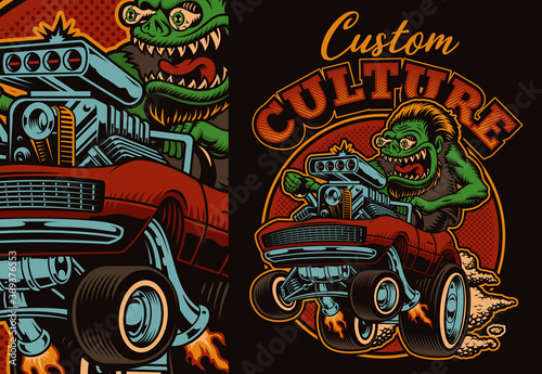 Obraz na plátně A colorful vector illustration of a cartoon hot rod, this design is perfect as a shirt print