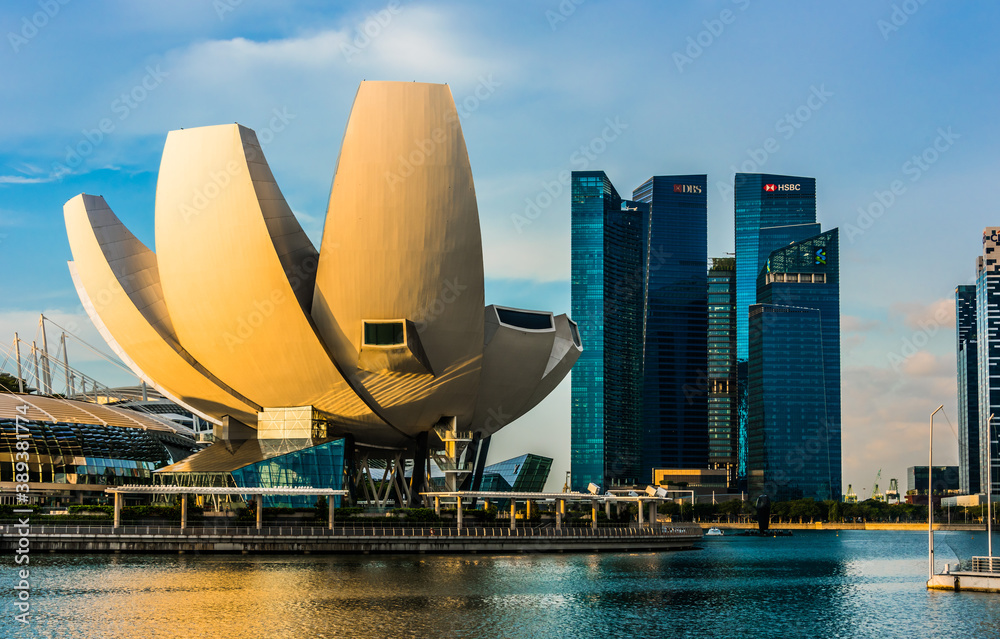 Singapore downtown waterfront with ArtScience Museum