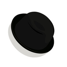 Bowler Hat Vector Stock Illustration. Black Hat Made Of Solid Felt. Classic Headdress Of England And Belgium. Isolated On A White Background. Gentlemen's Club