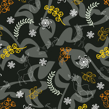 Brown Floral Pattern Background With Deers And Santa Clause