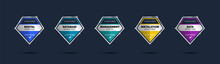 Certified Of Company Training Badge Certificates To Determine Based On Criteria. Set Diamond Corporate Logo Badge Shiny Colorful Template.