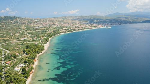 Obraz Beautiful aerial shot of the Nikiti beach located in Greece - fototapety do salonu