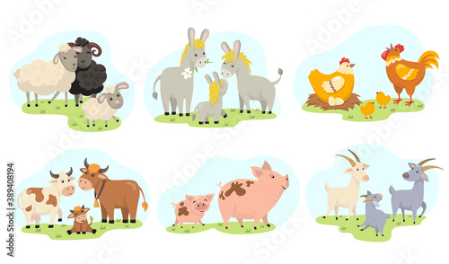 Fototapeta Cute farm animals family flat illustration set