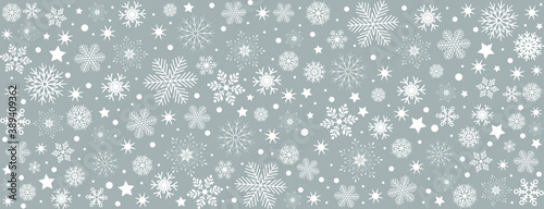 Snowflake gray background with white snowflakes, blue gray Christmas card - stoc Fototapet