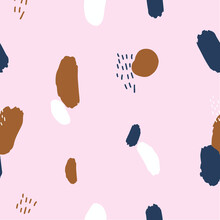 Seamless Repeating Abstract Tiger Paw Pattern With Brush Stroke In Pastel Pink, Blue Navy, White, Yellow Mustard And Dots Texture. Creative Modern Tilling Perfect For Background, Poster, Banner, Print